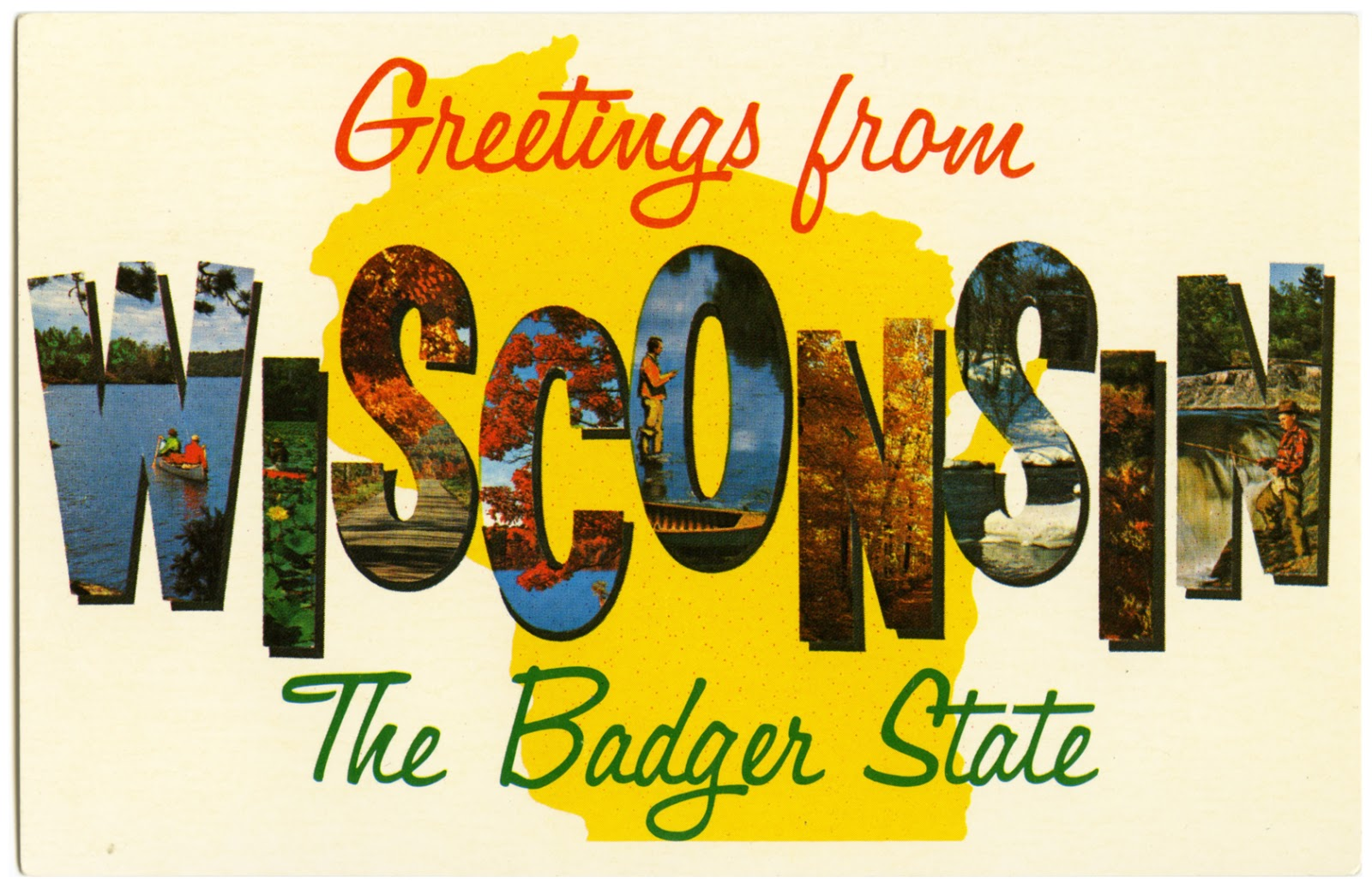 The wisconsin project december 2012 found greetings from wisconsin the badger state wisconsin americas dairyland published by johnson printing eau claire wis circa 1970s kristyandbryce Images