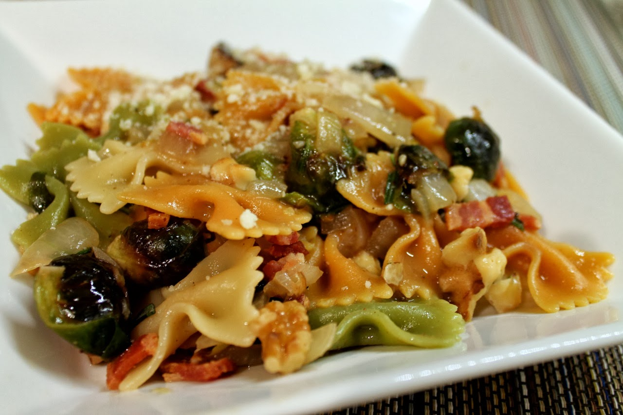 Pasta with Brussels Sprouts, Bacon and Walnuts