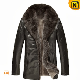 Black Sheepskin Leather Coat