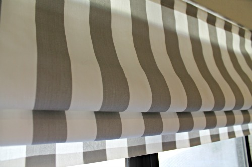White And Gray Faux Roman Shades Away She Went