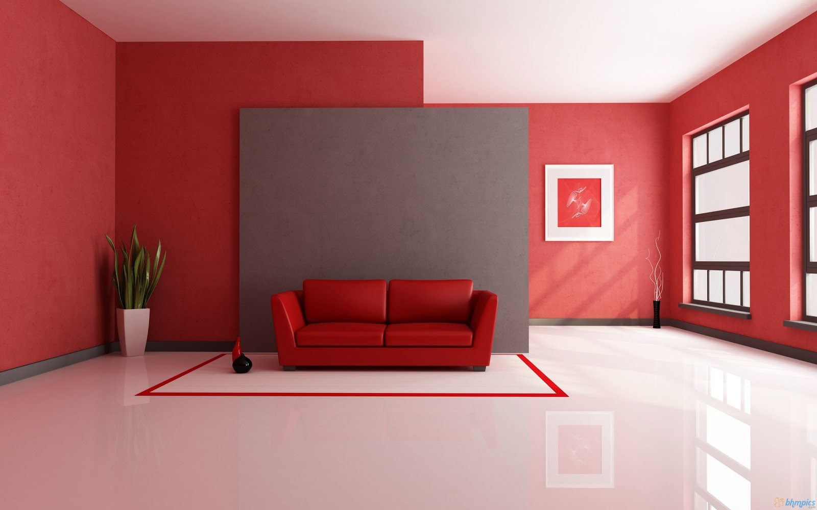 Red Living Room Interior Design