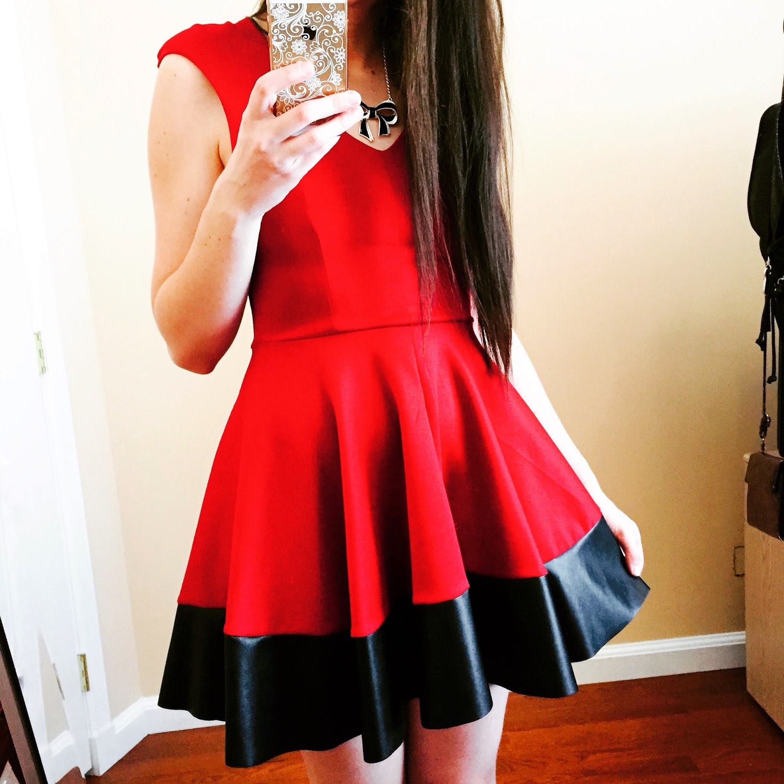 red dress with leather trim, stylescan dress,
