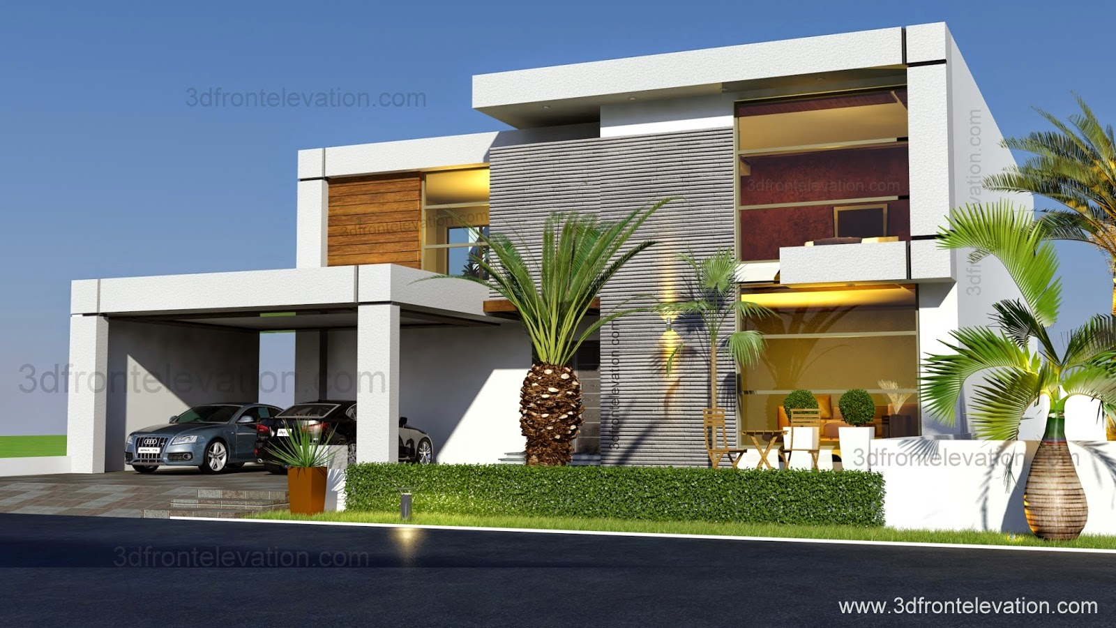 3d front beautiful contemporary house