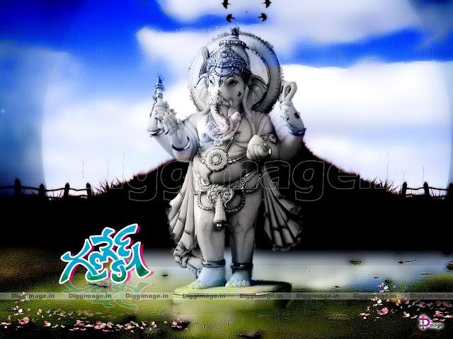 Ganesh Full Image Standing On Water wallpaper