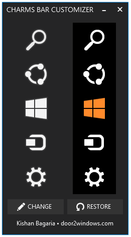Compugenesis windows 8 1 charms bar customizer for Door to windows
