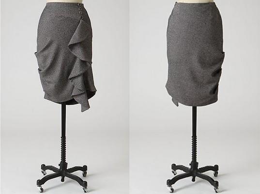 Falda con pliegues y volado imitacion Antropologie