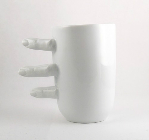 White Porcelain Finger Mug Seen On www.coolpicturegallery.us