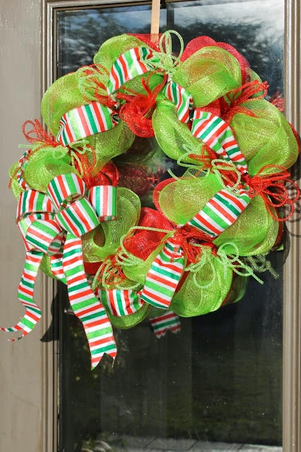 red and green mesh wreath