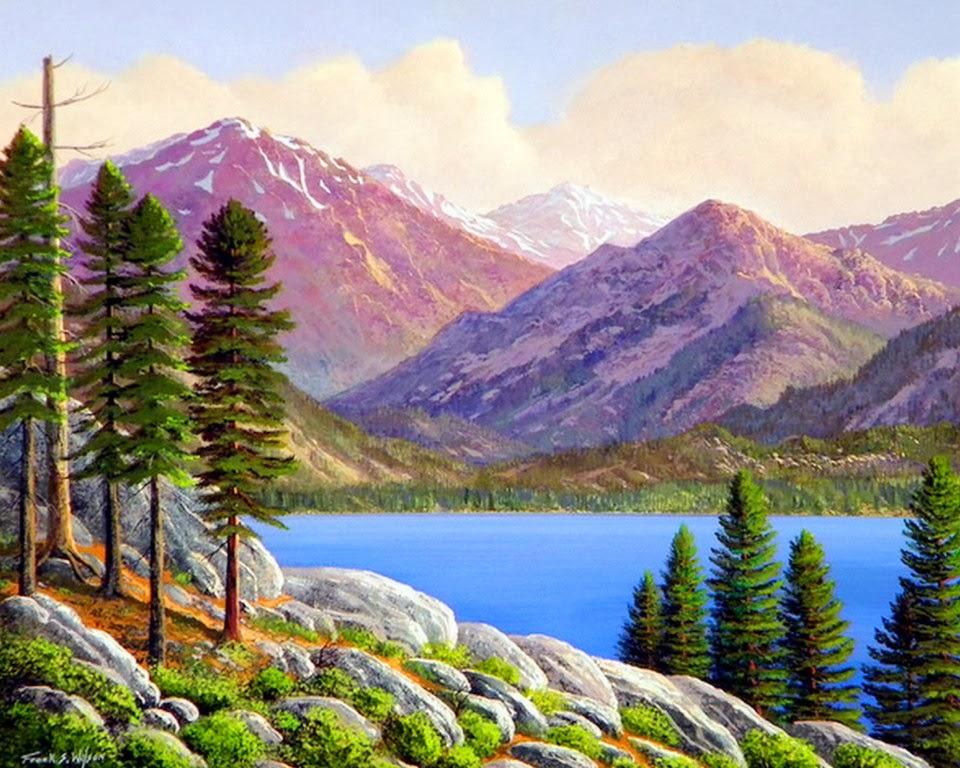 Cuadros modernos pinturas y dibujos paisajes con lagos - Paisajes nevados para pintar ...