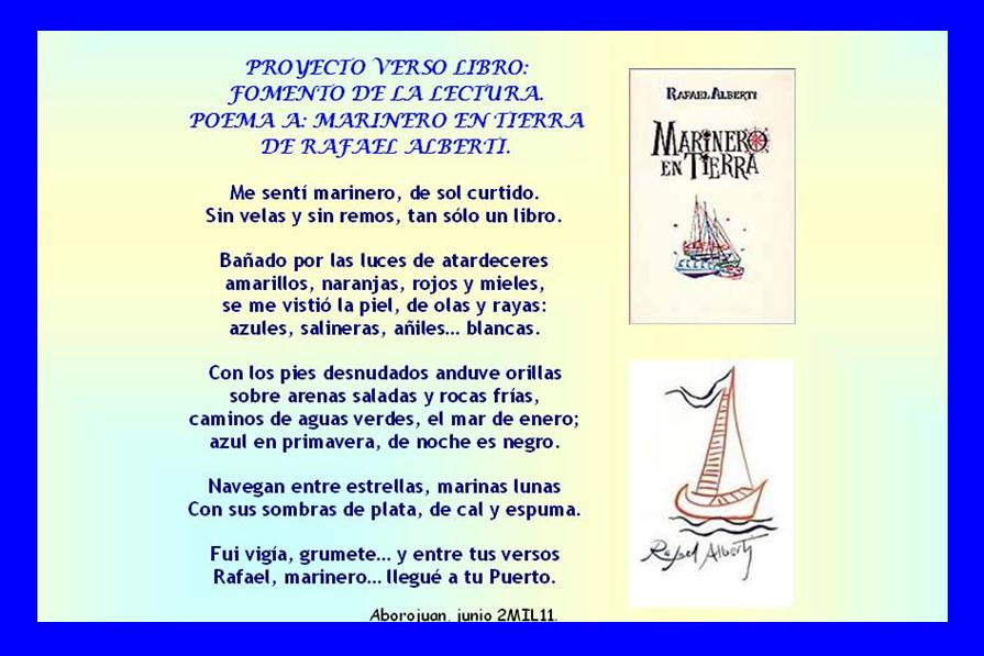 """Mi colaboración es un poema al libro """"Marinero en Tierra"""" de Rafael"""