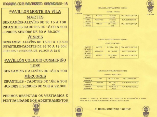 Horarios de Entrenamientos