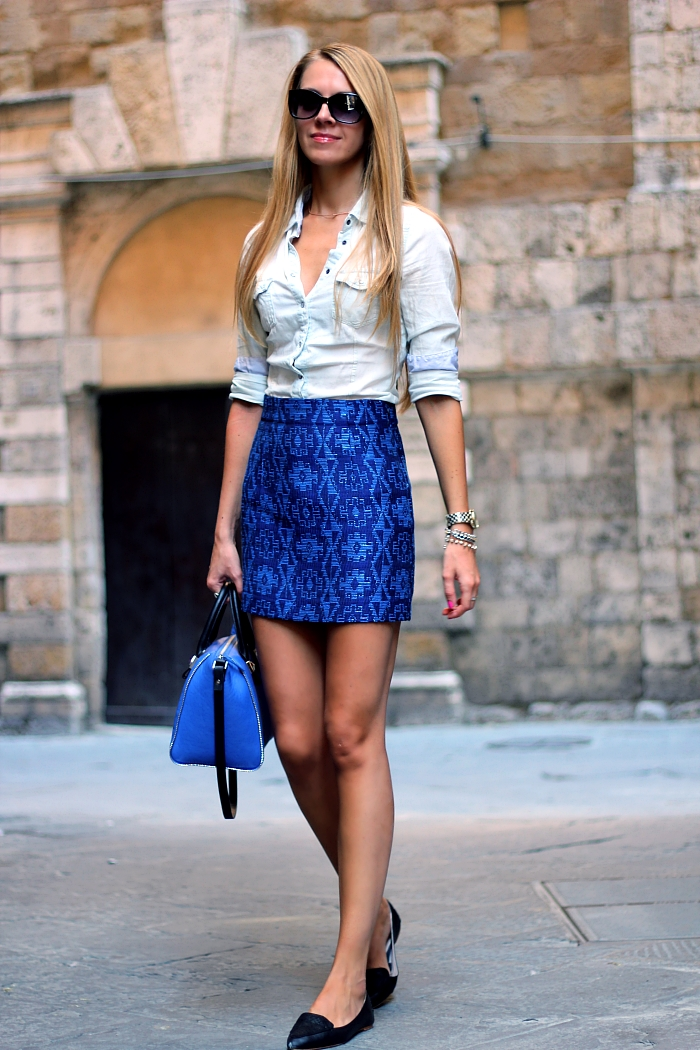 blue Zara printed skirt, Zara bag, denim shirt