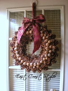 pinecone holiday door wreath ribbon