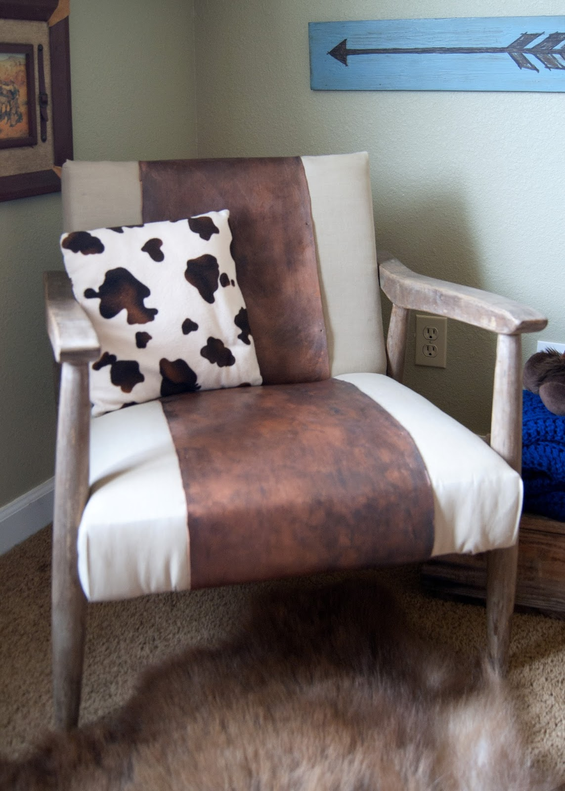 Mid century chair with leather
