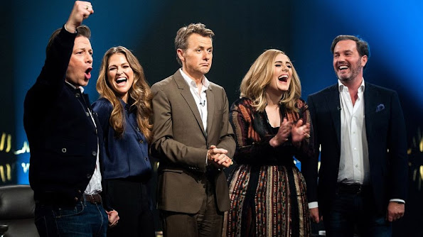 Princess Madeleine of Sweden and Chris O'Neill together with Skavlan, Jamie Oliver and Adele