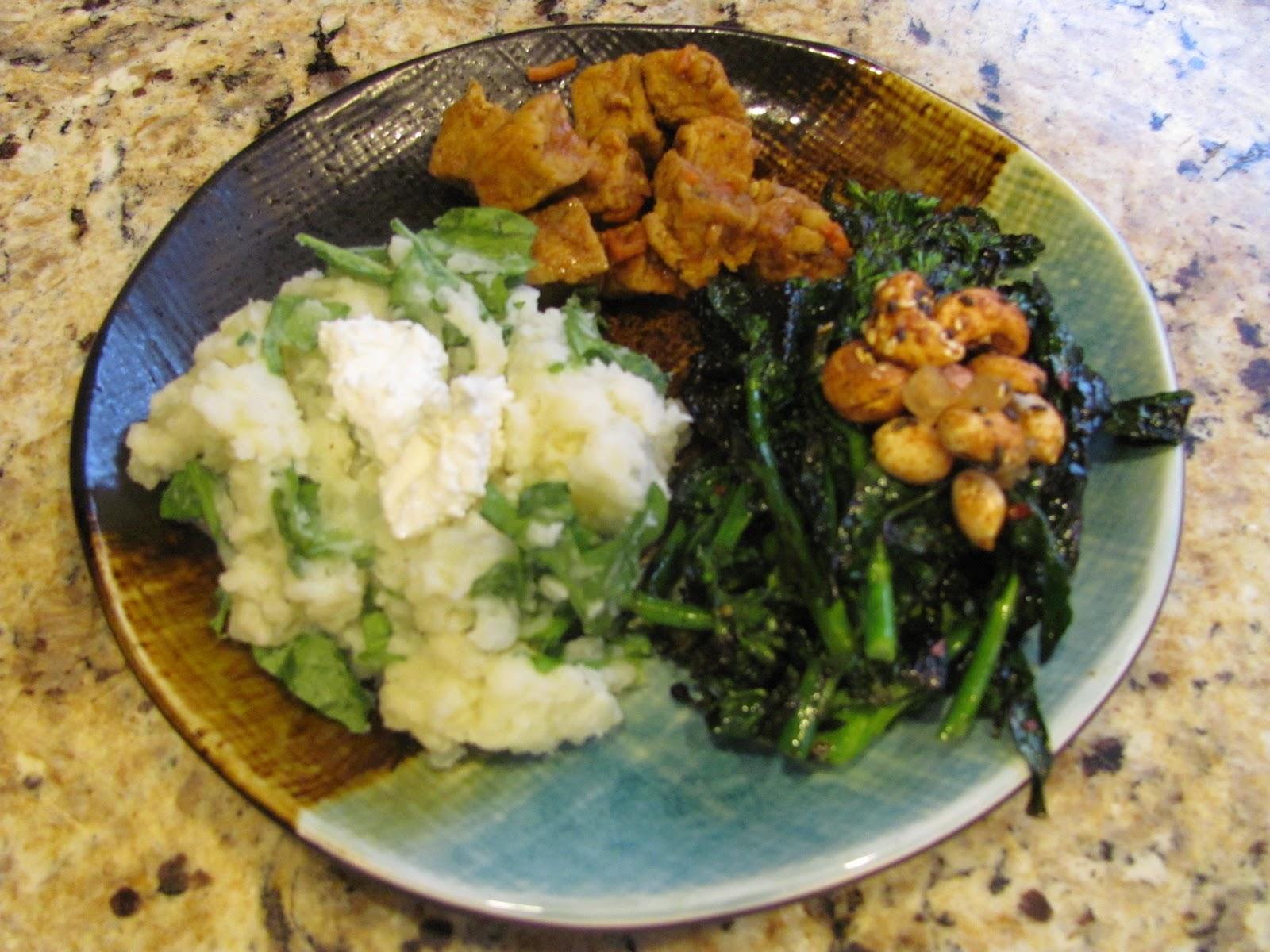 ... : Grilled Kale Raab and Mashed Potatoes with Arugula and Goat Cheese