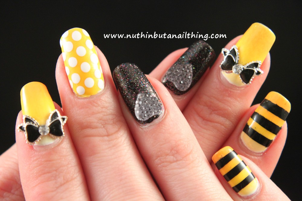 Nuthin but a nail thing black and yellow black and yellow so i did a gradient using various yellows on a few nails and then added some black stripes i also did some yellow and white polka dot nails and then prinsesfo Choice Image