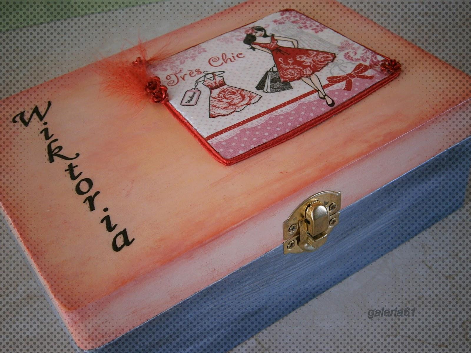 decoupage szkatułka dla dziewczynki różowa