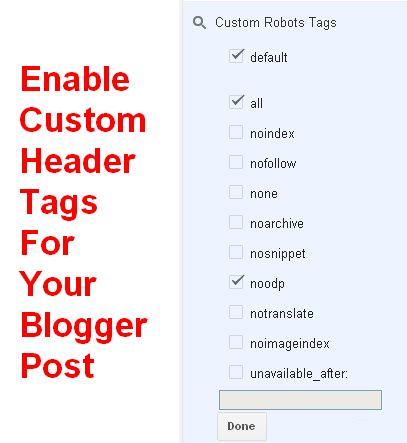 How to enable custom robots tags for blogger posts