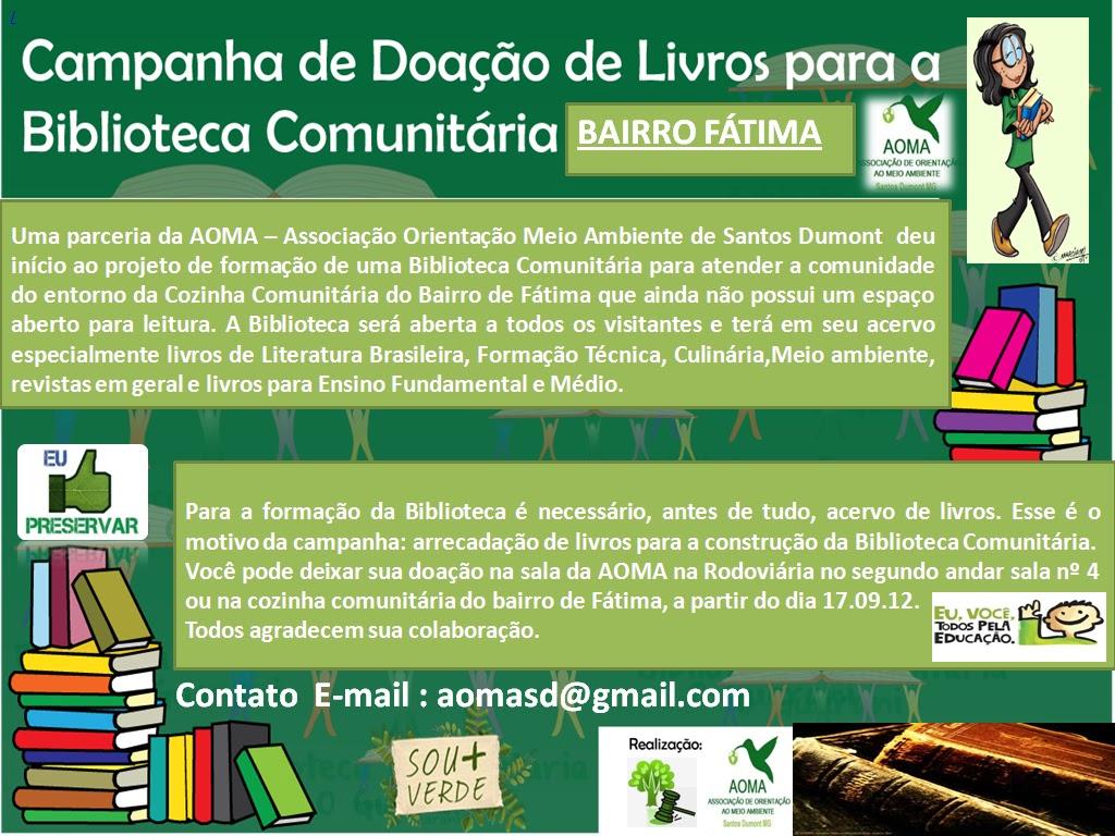 de Livros para a Biblioteca da Cozinha Comunitária do Bairro Fátima #106C40 1024 768