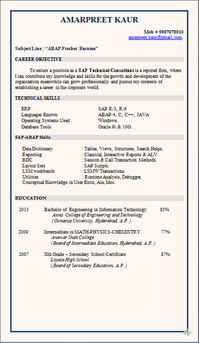 electronics and telecommunication fresher resume
