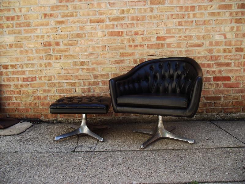 vintage ground mid century modern tufted black chair w ottoman