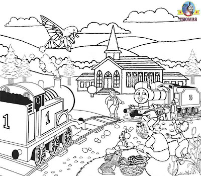 Kids Happy Easter coloring picture of Thomas and friends James the red engine spring Church festival