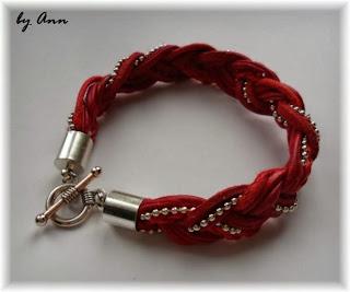 bransoletka rzemykowa sznurkowa przeplatana czerwień