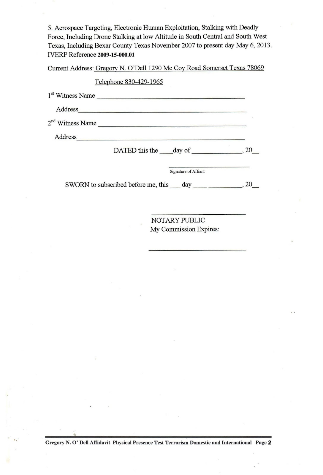 Single Status Affidavit Templates