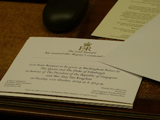 An invitation to a state banquet in the office display in a Royal Welcome 2015 exhibition at Buckingham Palace Photo © Andrew Knowles