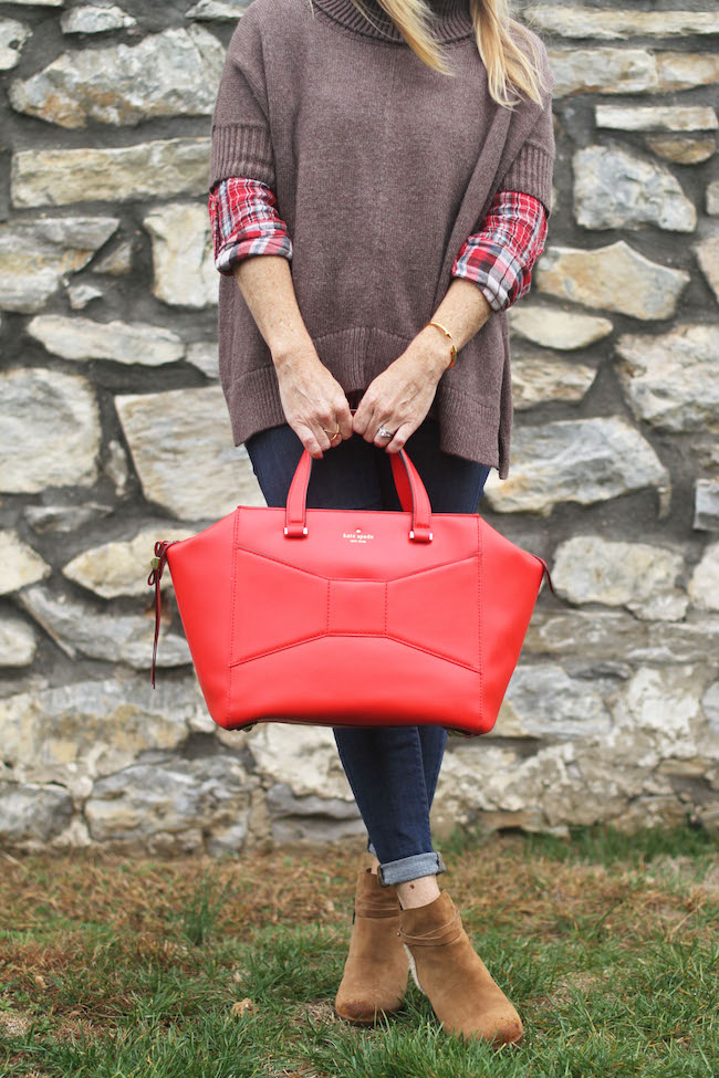 turtleneck poncho, kate spade bag, UGG booties