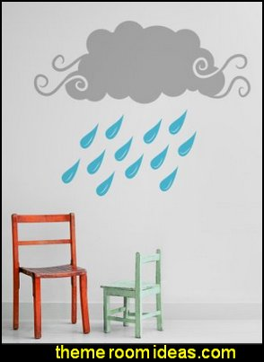 Rain Clouds wall decals rain theme bedroom wall decorations