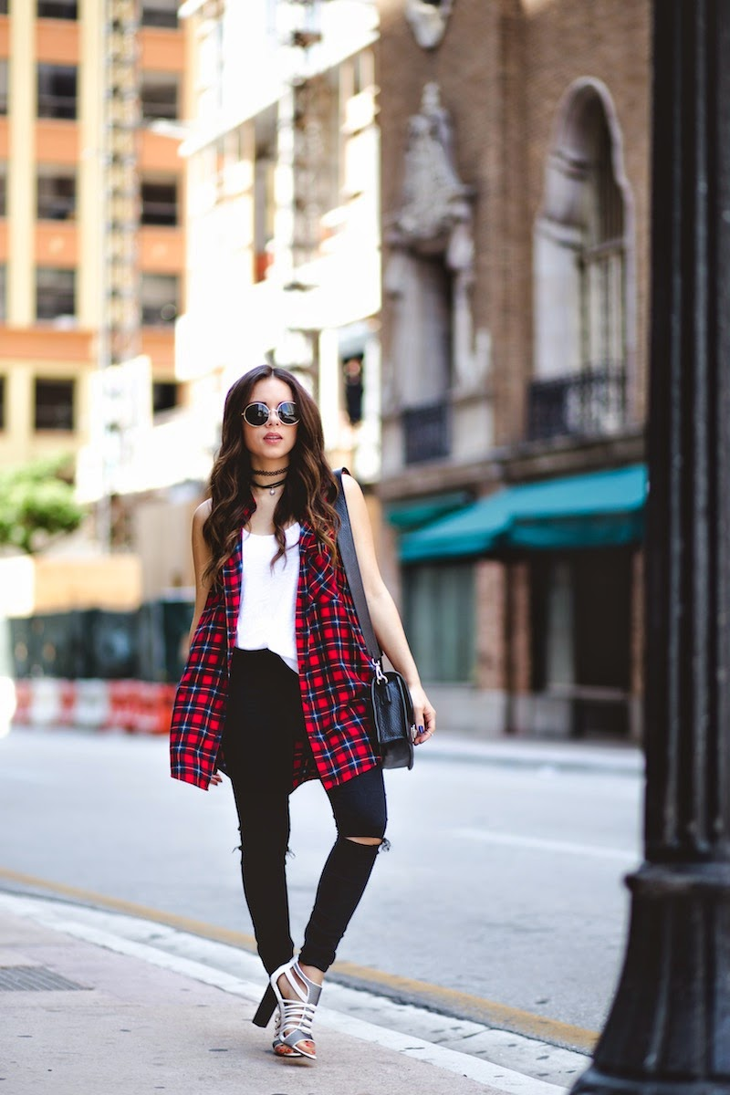 plaid shirt, forever 21, shoedazzle brunch, shoedazzle saturdays, f21xme, asos, ripped jeans, black jeans, miami fashion blogger, miami, fashion, outfit