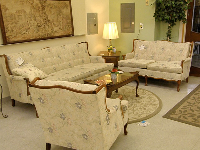 Above is a three piece traditional living room set with Queen Anne styling.  Sofa, chair and loveseat are upholstered in cream with a subtle floral  design of ... - Habitat For Humanity Freeland Store: March 2012