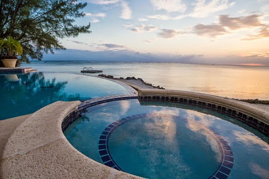 The view from the infinity pool of this magnificent home for sale in the Cayman Islands