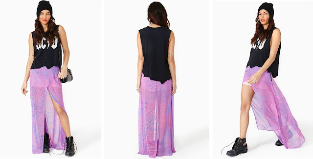 Ravi Maxi Skirt in a mixed lilac color from NastyGal, lilac skirt, maxi skirt