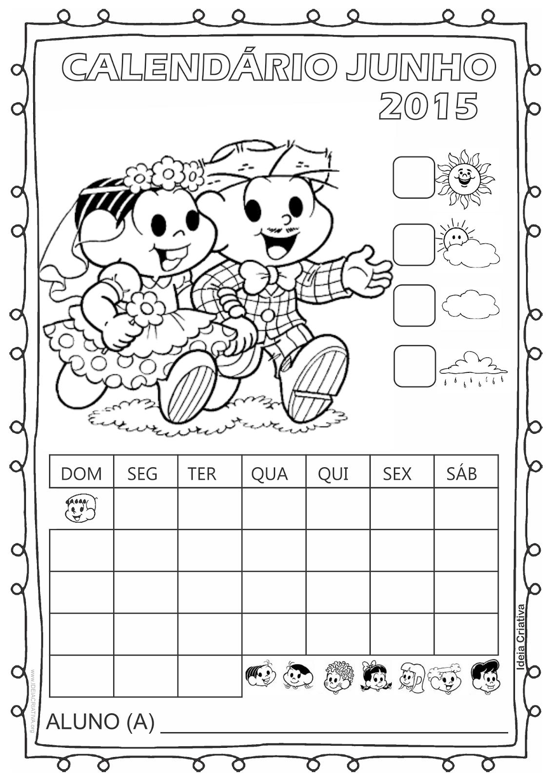 Calendário Turma da Mônica 2015 para Imprimir Grátis Junho Festas Juninas