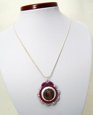sutasz naszyjnik wisior soutache pendant necklace 25b
