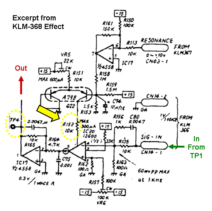 synth hacker 2013 excerpt from the polysix schematic for the resonance controlled vca on klm 368 prior to the effects section