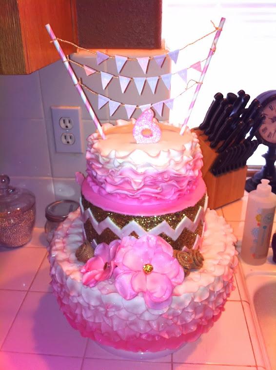 PINK GLITTER CHEVRON OMBRE CAKE