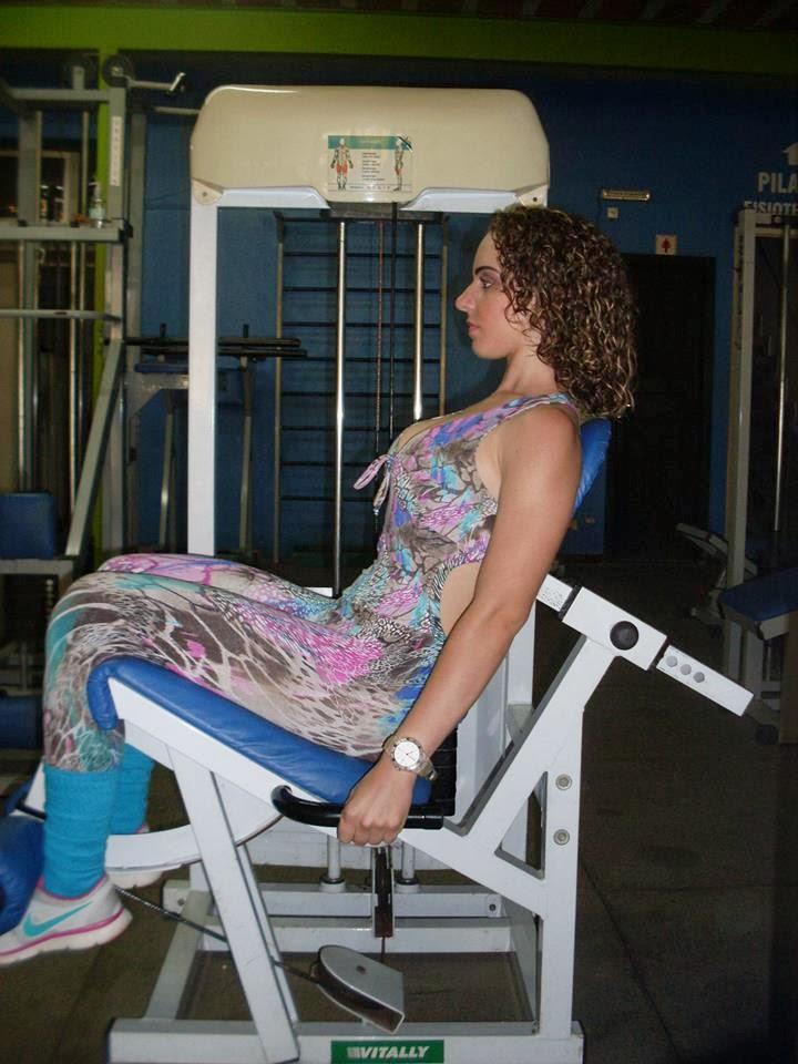 Cadeira extensora: 3 séries de 15 repetições. Foto: Arquivo pessoal