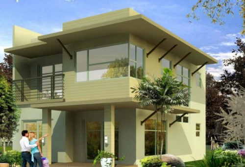 Modern exterior painted houses home design for Modern painted houses pictures