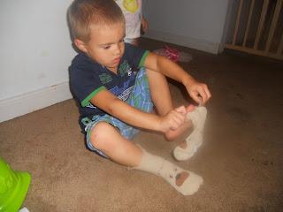 sliding on socks