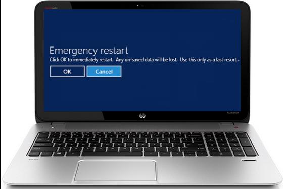هناك زر في الويندوز إسمه  Emergency restart  تعلم كيف تستعمله وما الغرض منه