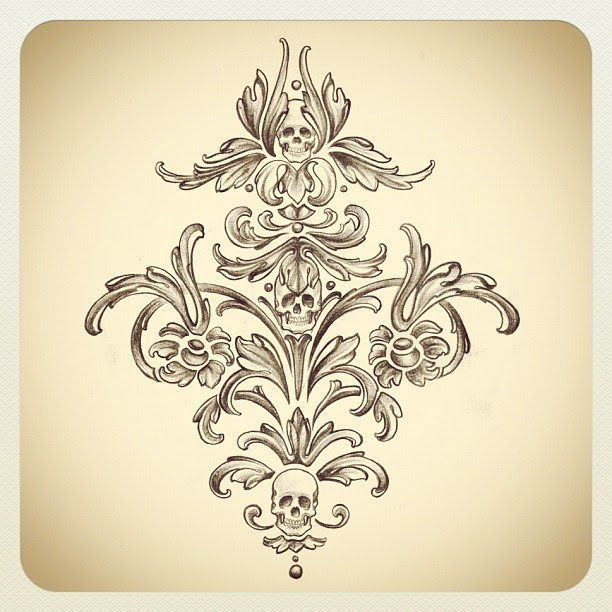 kat von d 39 s blog skull damask design i sketched possibly for the lining of coats. Black Bedroom Furniture Sets. Home Design Ideas