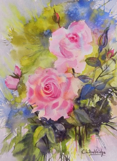 Pink Roses - 2, painting by Chitra Vaidya (part of her portfolio on Indiaart.com)
