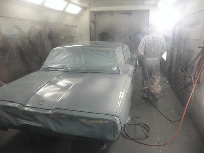 1965 Thunderbird being painted at Almost Everything