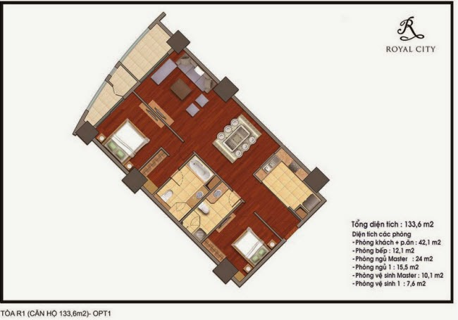 mặt bằng căn hộ 133.6m2 tòa R1 Royal City Nguyễn Trãi