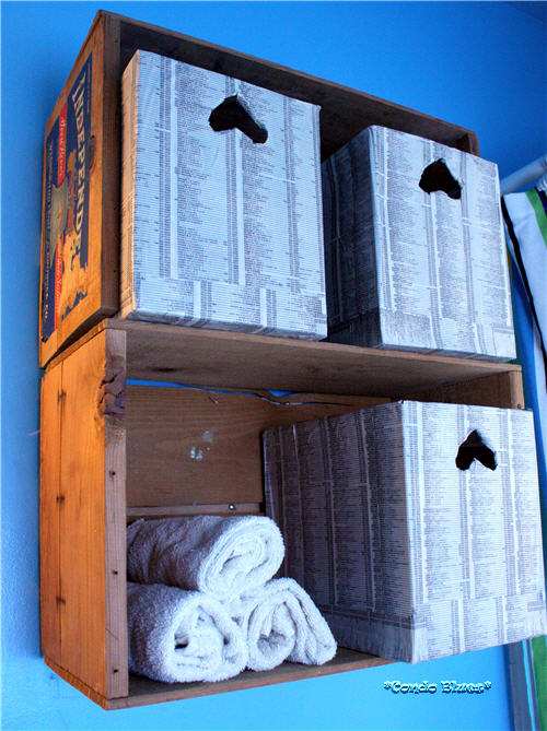 Condo blues how to make and hang wood fruit crate shelves for Shelves made out of crates