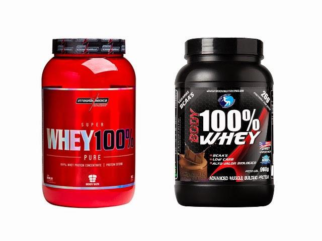 Super Whey 100% Pure, da Integralmédica e Body 100% Whey, da Body Nutry. Foto: Reprodução
